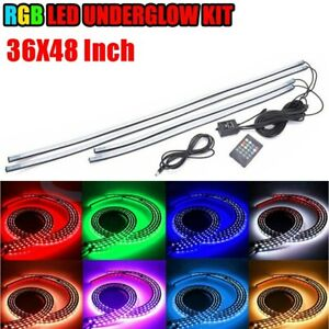 90 120cm Rgb Underglow Led Strip Under Car Tube Underbody System Neon Light Kits