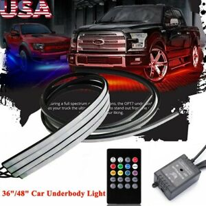 4 Rgb Led Strip Under Car Tube Underglow Underbody System Neon Light Kit 36 48