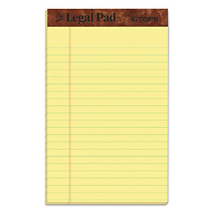 Tops The Legal Pad Writing Pads 5 X 8 Jr Legal Rule Canary Paper 50 12