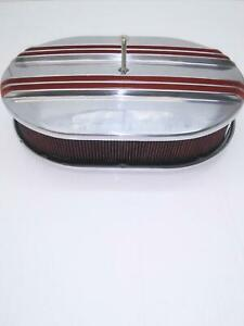 Billet Alum 12 X 2 Chevy Red Center Finn Air Cleaner W washable Filter