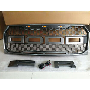 Gray Grill Raptor Style Grille Fit For Ford F150 2009 2014 W 3 Led Lights