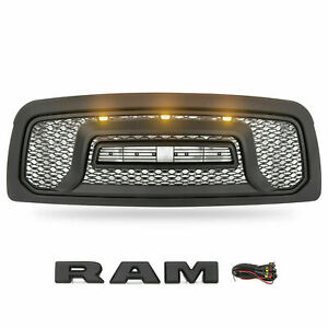 Front Grill For 2009 2013 Dodge Ram 1500 Grille Rebel Style With 3 Led Lights