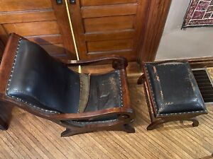 Brown Leather Mahogany Wood Lounge Chair And Ottoman
