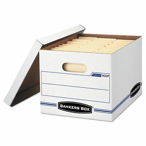 Bankers Box Stor file Storage Box Letter legal Lift off Lid White blue 4 carton