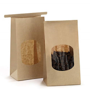 Bagdream Bakery Bags With Window Small Kraft Paper Bags 100pcs 3 54x2 36x6 7 Tin