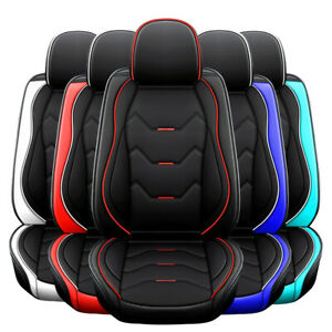 5 Seat Universal Car Seat Cover Deluxe Leather Full Set Cushion Protector Black Fits Honda Civic