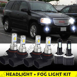 For Gmc Envoy Xl 2002 2006 6x 9005 9006 880 Led Headlight fog Light Bulbs Combo