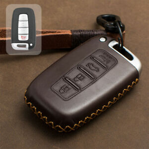 Real Leather Car Remote Key Case Shell Fob Cover For 2009 2014 Hyundai Genesis