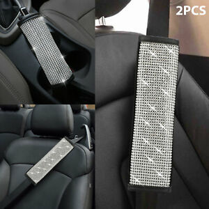 2pcs Leather Bling Rhinestones Car Safety Seat Belt Shoulder Pad Cover Cushion