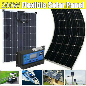 200w Watt Solar Panel Kit With Solar Charge Controller 20v Rv Boat Off Grid Us