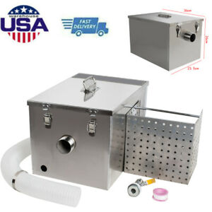 Commercial Kitchen Grease Trap Stainless Steel Interceptor Filter Kit Home Us