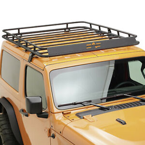 Paramount Roof Rack Cargo Basket W Wind Deflector Fit 18 21 Jeep Wrangler Jl