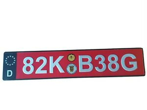 Rare Red Euro Tag European Car License Plate With White Reflective Lic Numbers