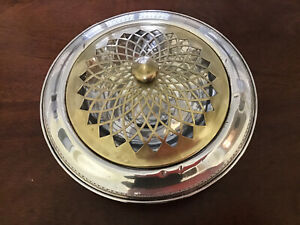 Mhf Sterling Silver Centerpiece Flower Arranger With Brass Pierced Frog Weighted