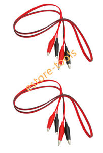 2 Pcs 40 Inch Double Ended Alligator Clips Test Lead Jumper Wire red Black