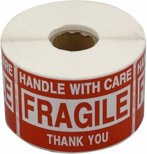 500 Large 2x3 Fragile Handle With Care Thank You Labels Stickers Free Shipping