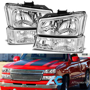Crystal Headlights Bumper Lamp For 03 06 Chevy Silverado Avalanche Clear Lens