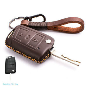 For Volkswagen Vw Golf 7 Gti R Mk7 Tiguan Brown Leather Car Key Case Cover Shell