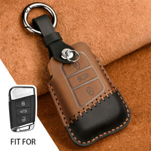 Car Smart Key Fob Chain Case Cover Genuine Leather For Vw Arteon Atlas New Jetta