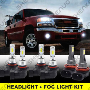 For Gmc Sierra 1500 2500 Hd 3500 2001 2006 6x Led Headlight Fog Light Bulbs Kit