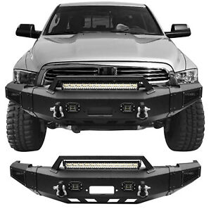 Steel Black Front Bumper W Winch Plate Leds D rings For 10 18 Dodge Ram 2500