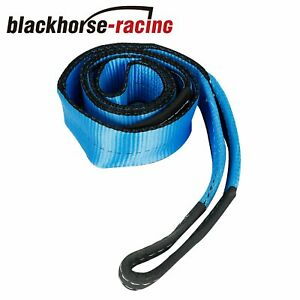 Winch Towing Pull Strap 3 X 8 Tree Saver 4x4 Off Road Tow Rope Chain Blue