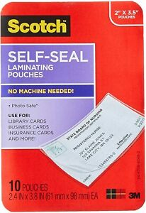 Scotch Self sealing Laminating Pouches Business Card Size 10 Clear