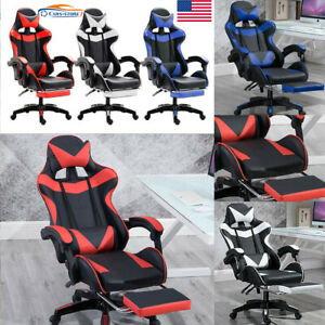 Leather Ergonomic Gaming Chair W footrest Sit Racing Computer Office Desk Swivel
