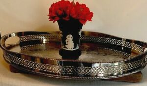 Antique Vintage English Silver Plate Gallery Tray Platter