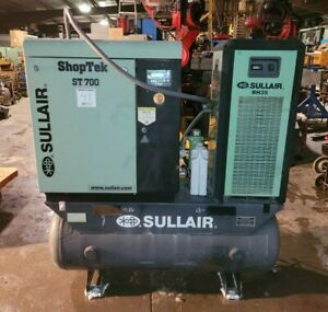 10 Hp Sullair st709rd Rotary Screw Air Compressor W dryer On Horizontal Tank