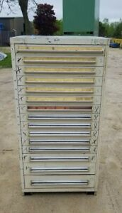 Stanley Vidmar 15 Drawer Industrial Tooling Cabinet W dividers 30 x30 x60 Tall
