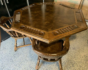 Rare Vintage Jamestown Lounge Co Oak Poker Table With 6 Chairs
