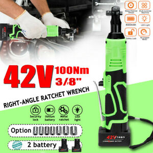 3 8 90 100nm Electric Cordless Ratchet Right Angle Wrench Tool 42v 2 Battery