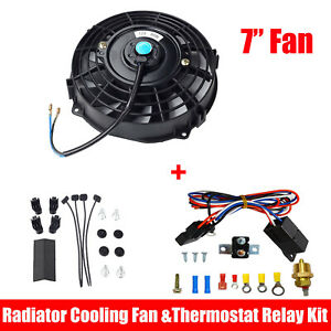 7 Inch Electric Radiator Cooling Fan Black 12v Thermostat Switch Relay Kit