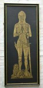 Vintage Mcm Mid Century Framed Knight Wood Block Print Type 24x10 Wall Art