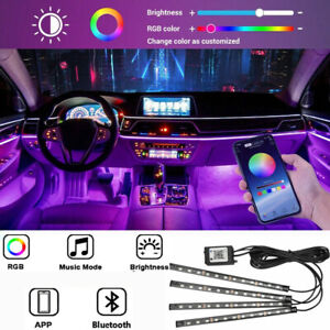 4in1 48 Led Rgb Car Interior Atmosphere Lights Strip Bluetooth App Music Control