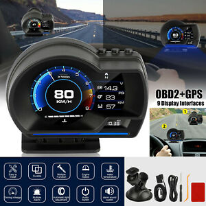 Obd2 Gps Car Head Up Display Hud Gauge Turbo Water Oil Temp Speedometer Alarm