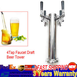 Four Faucets Draft Beer Tower Kegerator Stainless Steel Dual Chrome 4 Taps