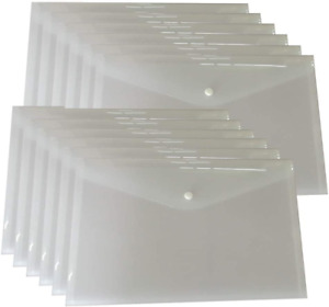 12 Plastic File Envelopes Poly Folders Clear Document Snap Button A4 Size White