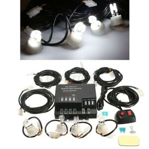 Hide Away Emergency Strobe Light Headlight Kit Warning System 4 Hid Bulbs white