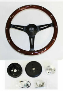 67 68 Chevelle El Camino Nova Dark Wood Grip On Black Steering Wheel 15 Ss Cap