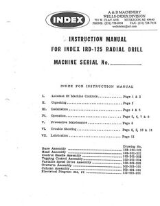 Wells Index Model 700 Cnc Vertical Milling Machine Operator Instruction And Part