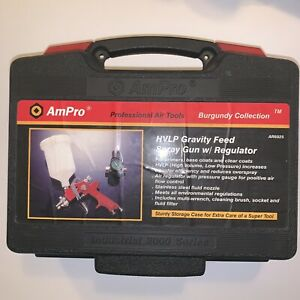Hvlp Gravity Feed Spray Gun With Regulator Ampro Used Burgundy Collection E25