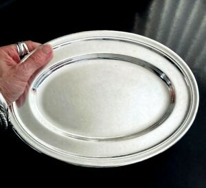Vintage Meriden Nickel Silver Soldered 10 Oval Tray Heavy Plain Hotel Quality
