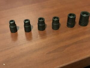 Snap On 1 4 Dr 6pc Metric 6pt Shallow Magnetic Power Socket Set 5 5 8 10 11mm