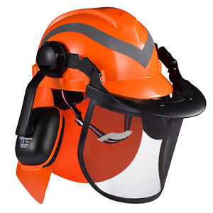 Safeyear Orange Forestry Safety Helmet Face Protection Mesh Closer Fit New