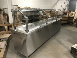 144 12ft Stainless Steel Steam Table Natural Gas 10 Pans W Sneeze Guard Nsf