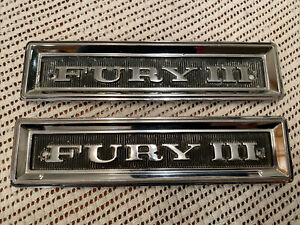 1968 Plymouth Fury Iii Left And Right Fender Emblems