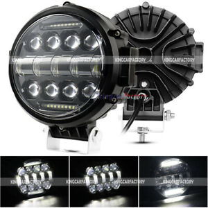 7inch Round Led Light Bar Work Spot Flood White Drl Offroad Driving Atv 4wd Suv