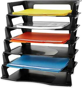 New Letter Tray Six Tier Plastic Black 86028 Holds A4 Size Documents And Folders